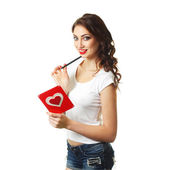 Woman with card on Valentine Day — Stock Photo