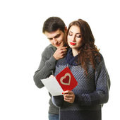 Couple with a card on Valentine's Day — Foto Stock