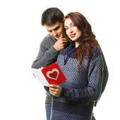 Couple with a card on Valentine's Day — Stock Photo