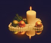 Christmas candle on dark — Foto de Stock