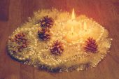 Candles on wooden table — Stock Photo
