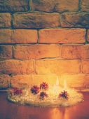 Candles against a brick wall — Stock Photo
