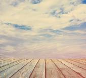 Sunset sky and wood floor — Stockfoto
