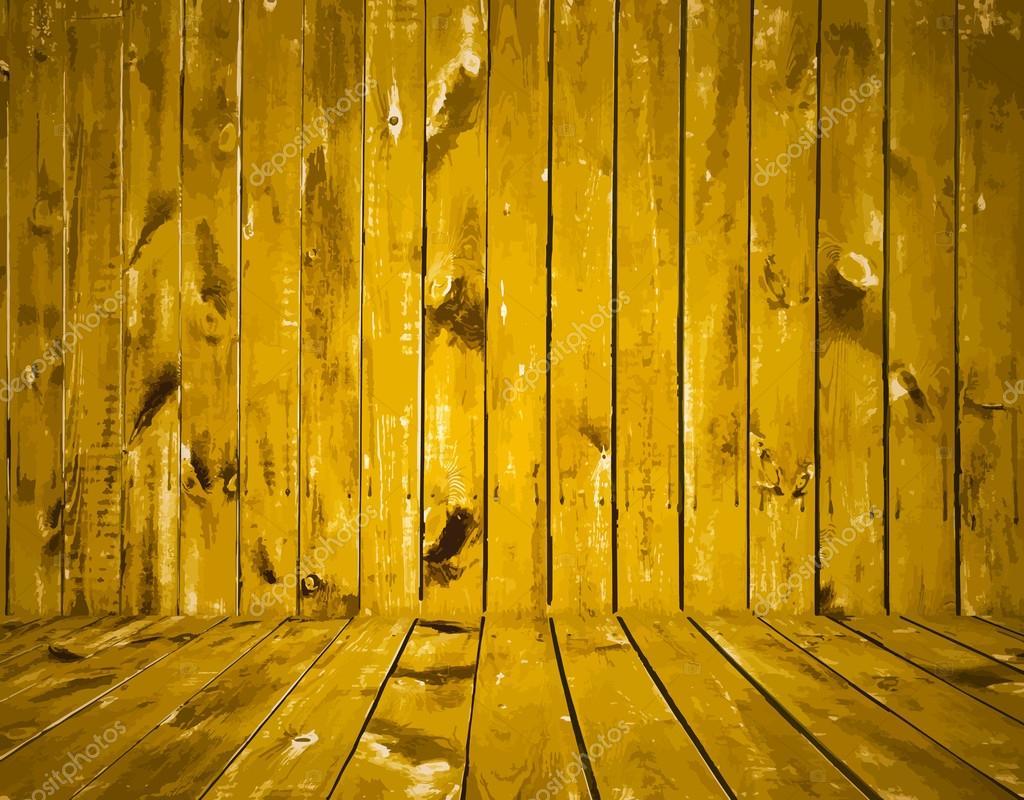 把旧的木墙漆成.黄色纹理背景,矢量图– 图库插图