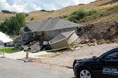 Landslide destroyed home — Stock Photo