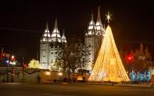 Iglesia de Jesucristo de los Santos de los Últimos Días antes de Navidad — Foto de Stock