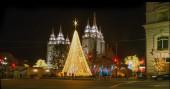 Christmas tree and festive illuminations — Stock Photo