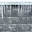 Icicles hang down from a roof  — Stock Photo #58384009