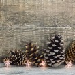 Pine cones with Christmas lights decoration — Stok fotoğraf #59721847