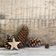 Christmas decorations on wooden background — Stock Photo #59721933