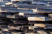 Stack of old rusty rails — Stock Photo