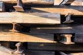 Old wood railway sleepers — Stock Photo