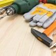 Assorted work tools on wood — Stock Photo #69466771