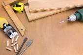 Reeks hulpmiddelen van de houtbewerking — Stockfoto