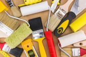 Paint rollers and brushes — Stock Photo