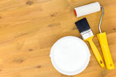 High angle shot of paint equipment — ストック写真