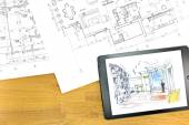 Digital tablet with architectural blueprints — Stock Photo