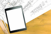 Digital tablet with architectural drawings — Stock Photo