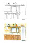 Graphic sketch and color version of a kitchen — Stock Photo