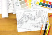 Designers workplace with drawing material — Stock Photo
