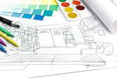 Designers desk working environment — Stock Photo