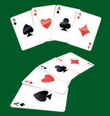 Dört as oyun kartları — Stok Vektör