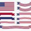 Red white blue american flag, ribbon and banner — Stock Vector #69421201