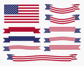 Red white blue american flag, ribbon and banner — Stock Vector