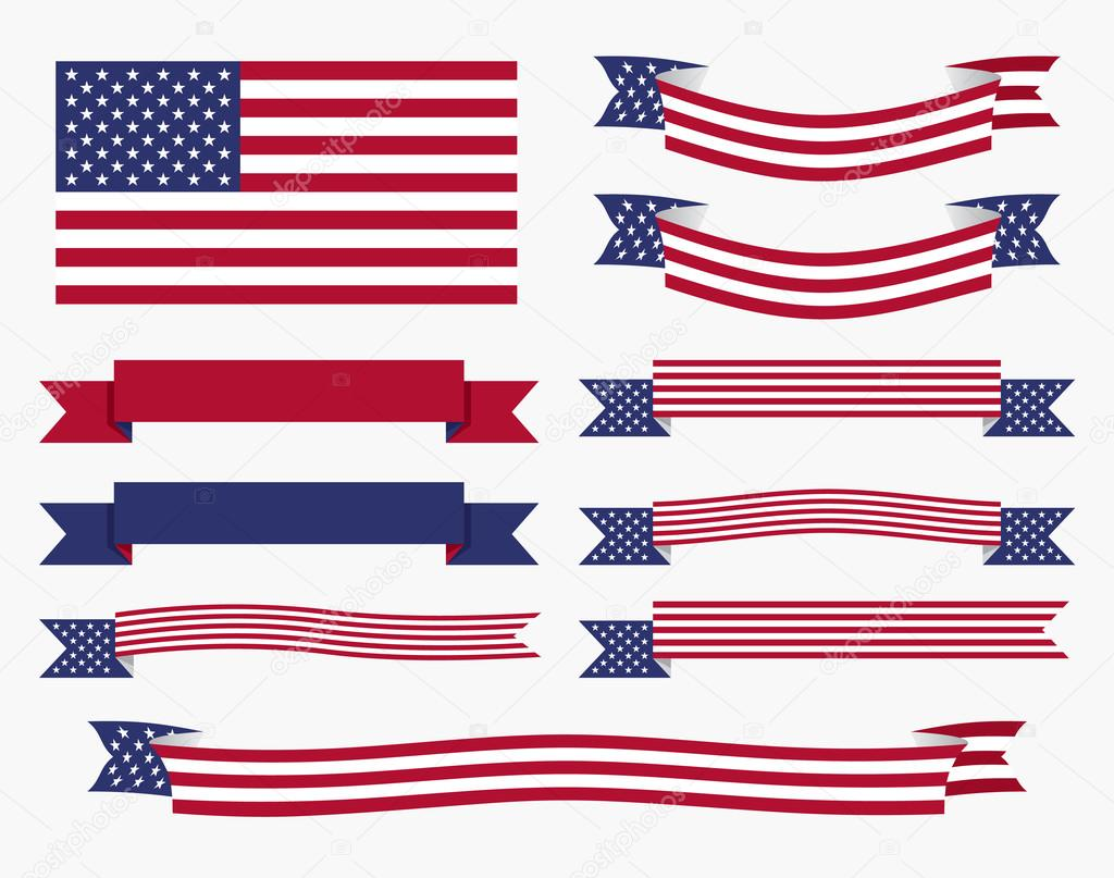 Red white blue american flag, ribbon and banner — Stock ... - photo#25