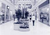 Shoppers at shopping center, motion blur. — Stock Photo