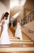 Two girls in a beautiful wedding dress on the stairs — Foto de Stock