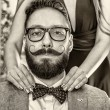Old-fashioned man with a beard and curled mustache — Stock Photo #65666453