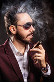 Portrait of handsome man in casual dress smoking a cigar — Stock Photo