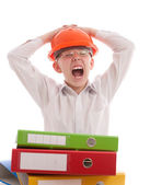 Screaming teenager in helmet with office folders — Stock Photo