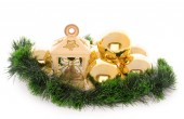 Lantern with gold balls and fir decoration — Stock Photo