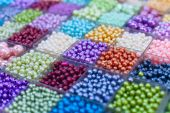 Beads in boxes on a Thai sunday market Chatuchak — Foto Stock