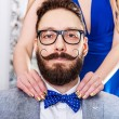 Old-fashioned man with a beard and curled mustache — Stock Photo #74536727