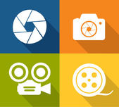 Camera and shutter icons — Stock Vector