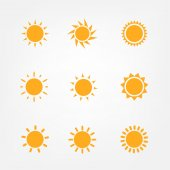 Orange Sun symbols set — Stock Vector