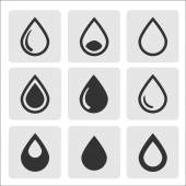 Vector black drop icons — Stock Vector