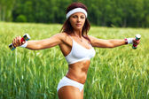 Woman sports training — Stock Photo
