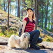 Young woman tourist with dog — Stock Photo #74020275