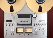 Analog Stereo Open Reel Tape Deck Recorder VU Meter Closeup — Stock Photo