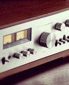 Vintage Stereo Audio Amplifier Volume Knob — Stock Photo