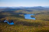 Adirondack forests and lakes summer aerial view from light aircr — Stock Photo