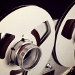 Analog Stereo Open Reel Tape Deck Recorder Spool Closeup — Stock Photo #53679141