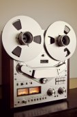 Open Metal Reels With Tape For Professional Sound Recording with — Stock Photo