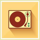 Retro turntable vinyl record player — Stock Vector