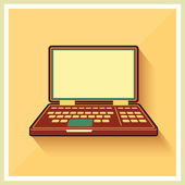 Laptop notebook personal computer flat vintage icon vector — Stock Vector
