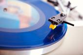 Analog Stereo Turntable Vinyl Blue Record Player Headshell Cartr — Stock Photo